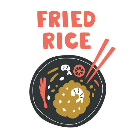 Vector illustration of fried rice in a black plate with shrimp, lime, onion and chopsticks. Asian Thailand tasty food concept hand drown in doodle style. Isolated on white background