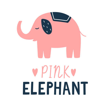 Cute cartoon vector elephant illustration with lettering text below. Pink elephant silhouette with blue ears and little hearts. For children book, poster, postcard design and kawaii concept 向量圖像