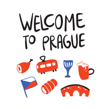 Flat vector illustration of Prague, Czech republic. Symbols isolated on white background. Bridge, meat, flag, beer, tram for travel, textile and concept, touristic promotion 矢量图像