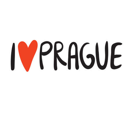 Love Prague hand written text with red heart on white background. For banners, posters and other touristic promotion. Logo for clothes and design