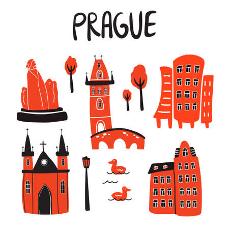 Vector set illustration of Prague attractions. Set of silhouette icons for print, posters, banners, t-shirt, touristic promotion in doodle style on white background