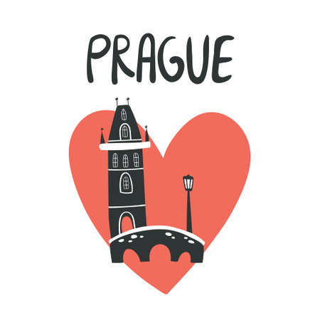 Vector silhouette illustration of Charles Bridge with text Prague and red love heart. Logo for touristic promotion, banners, posters and t-shirts in doodle style 矢量图像