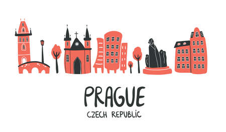 Prague vector skyline in doodle style with silhouette of Charles Bridge, cathedral church, monument and house. Illustration for touristic promotion, concept, posters, t-shirt, blog on white background