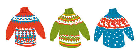 set of cute kawaii winter sweaters. Red, blue and green jumpers with beautiful ornament. Deer pattern with christmas sweatshirt. For design, concept, promotion and postcards