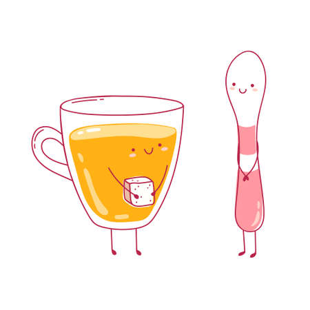 Cute kawaii vector illustration with cup of tea and spoon. Adorable characters fall in love. Cup with sugar as a gift. Happy lovers together. Love concept. For postacrd, design, blog, print Ilustracja