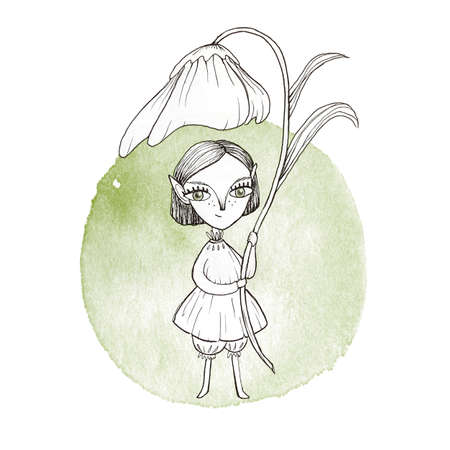 Illustration with cute fairy elf girl and big flower as like umbrella. Cartoon kawaii hand drown sketch watercolor artwork. Fantasy forest elf girl with big eyes. For coloring page, book and design
