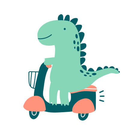 Vector cute illustration with cartoon dinosaur riding on scooter. Doodle green tyrannosaur in childish style. Delivery concept or travel adventure. For books, blog, print materials, promo