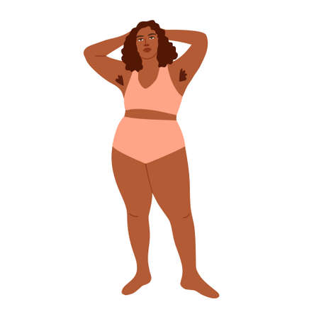 Vector illustration of woman with overweight pink lingerie and hairy armpits. Plus size brunette model. Body positivity, my body my choice. Strong woman and girl power. For blog, articles, promo