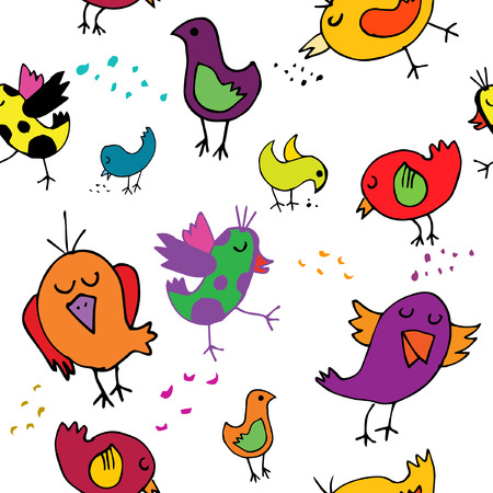 birdies: seamless pattern with funny colorful birdies