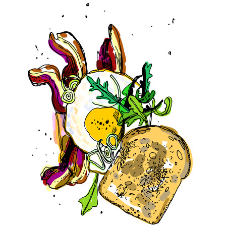 continental: breakfast,  hand drawn vector illustration, scrambled eggs with bread and bacon. Illustration