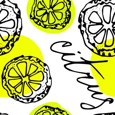 citrus: Sketched citrus fruits, lemon slice, calligraphy citrus.