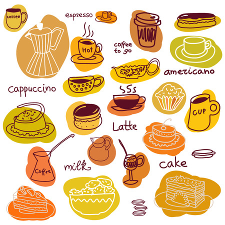 americano: Coffee cups and sweets set. Coffee, cappuccino, americano, coffee to go, espresso, milk, macaroons, pie. Illustration