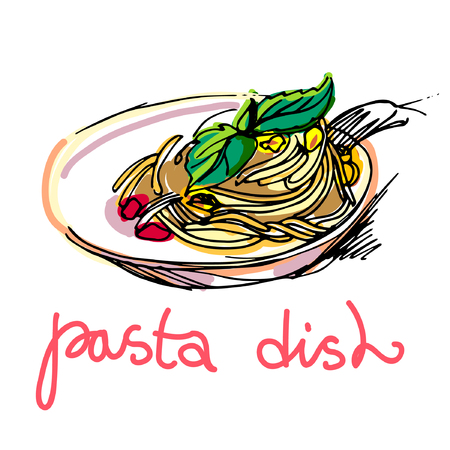 Pasta Menu, hand drawn vector illustration, national Italian pasta. Dish of pasta.