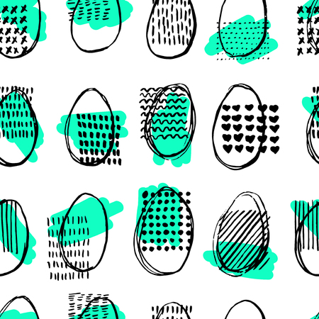 green cute: Seamless pattern with eggs. Happy easter. Abstract ellipse pattern.