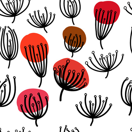 fennel: Background with dill. Seamless pattern with fennel. Black and white abstract pattern.