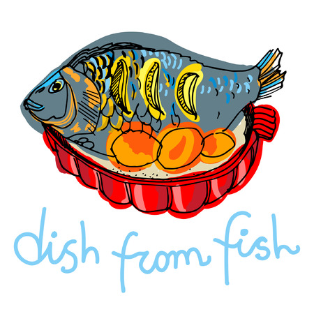 Vector seafood drawing. Hand drawn fish dish.