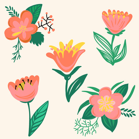 Set of hand drawn flowers in bright colors