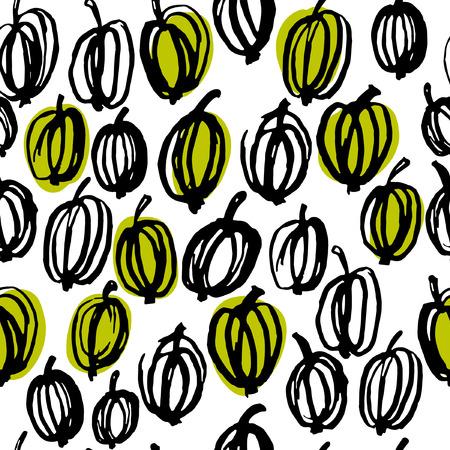 Gooseberry seamless pattern. Hand drawn berryes pattern. Scandinavian style.