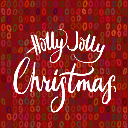 jolly: Holly Jolly Christmas calligraphy on red background. Illustration