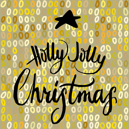 jolly: Holly Jolly Christmas, calligraphy on gold background with black star