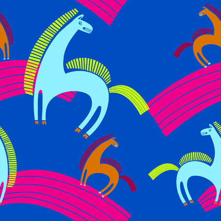 frisky: seamless pattern with horses, circus