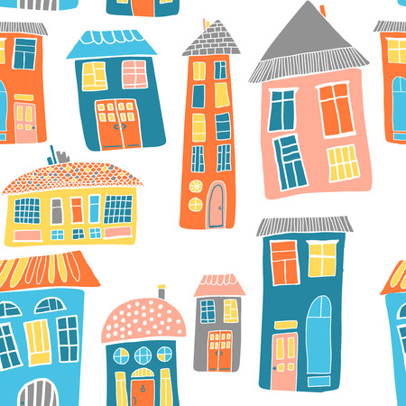 urban landscape: Urban landscape. Seamless pattern with houses