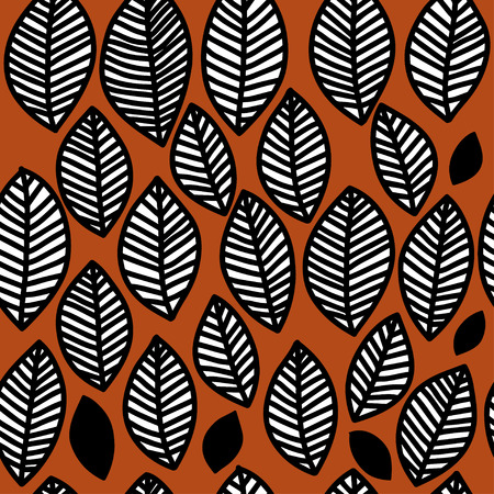 fallen leaves: Scandinavian style. black and white seamless floral pattern, graphic autumn fallen leaves,