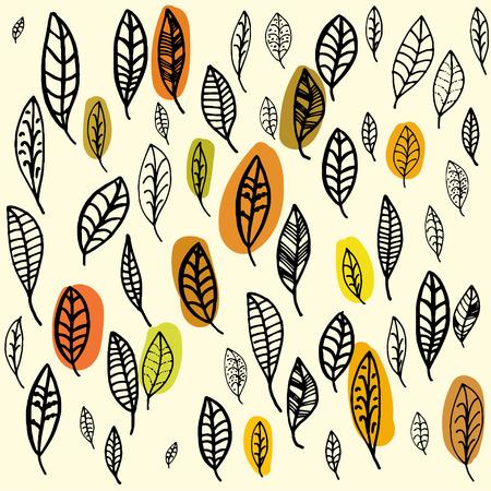 fallen leaves: Set of fallen leaves. Autumn pattern. Sketched leaves.