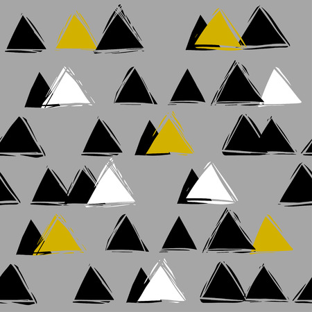 mountaintop: Scandinavian style. black and white seamless abstract pattern with triangles. Mountain landscape