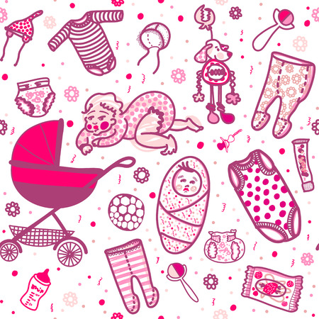 wet girl: New born baby girl seamless pattern in five colors. Sliders, undershirts, bodysuit, bonnet, baby carriage, toy, ball, napkin, cream, wet wipes, rattle, bottle.