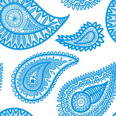 disegni cachemire: Seamless pattern sulla base di elementi tradizionali asiatici Paisley. Astratto modello di colore blu.