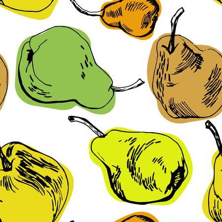 pears: Hand drawn pears seamless pattern