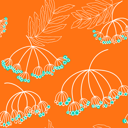 ashberry: Floral seamless pattern with ashberry. Rowan with leaves. Illustration