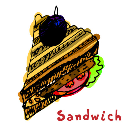 bacon art: Painted sandwich with bread, tomato, cutlet, chop, patty, meatball, rissole, lettuce. Lunch time. Hand drawn sandwich. Illustration
