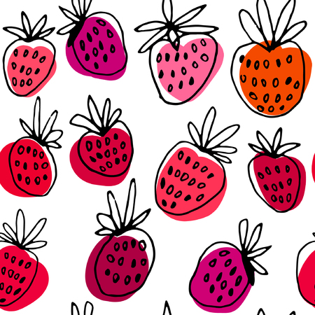 Seamless strawberry hand drawn vector pattern. Black and white graphic with color patchs.
