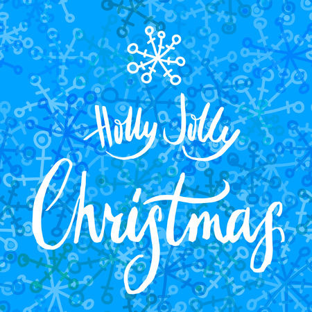 jolly: Holly Jolly Christmas calligraphy on blue background with snowflakes. Illustration