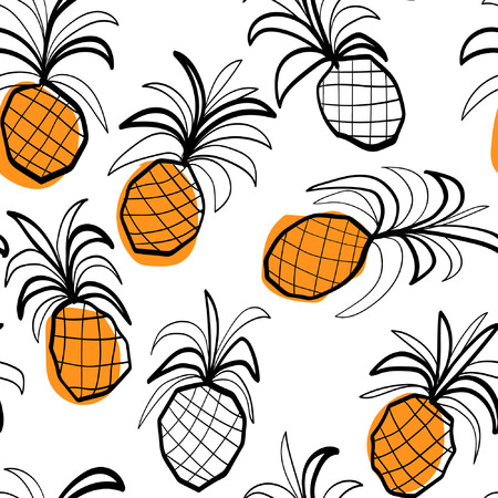 ananas: Seamless pattern with stilized ananas, black and white sketched pineapples with color spots. Illustration