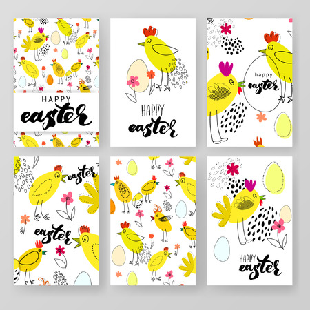 henhouse: Vector design template collection for banner, flyer, placard, poster, greeting card, brochure. Happy easter lettering. Set of patterns.