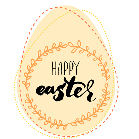 ink illustration: Happy Easter lettering card. Hand drawn lettering poster for Easter. Ink illustration. Modern calligraphy. Happy Easter typography background.