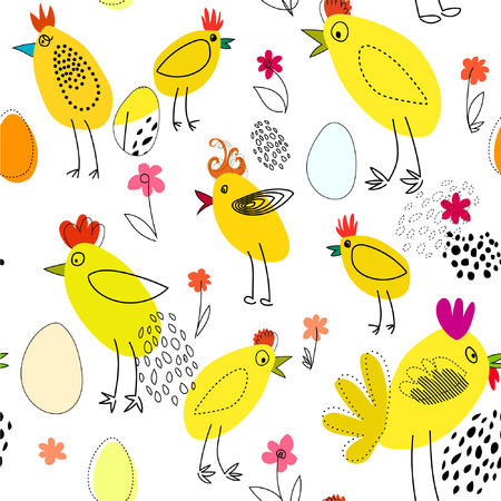 roost: Seamless vector image, background pattern with hens, roosters, chickens and eggs on white background