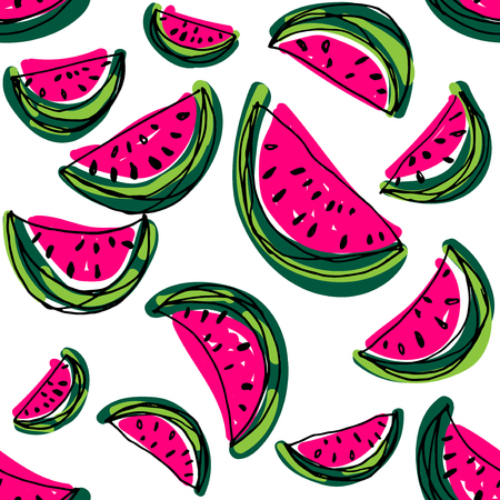 orange slice: Watermelon slice pattern. Hand drawn cartoon water melon. Watermelon seamless background.
