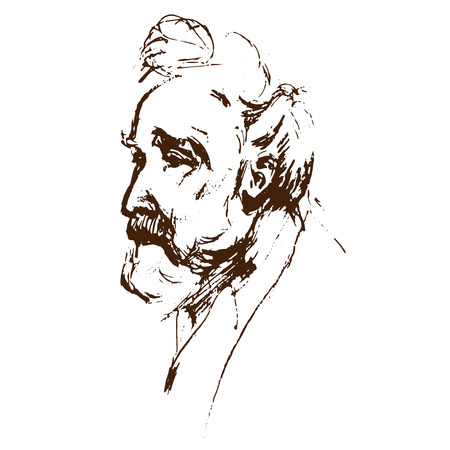 man head: Old man portrait side-view. Serious bearded captain grandfather. Illustration