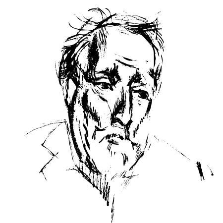 Portrait of sad old man with beard and whisker. Sketched elder serious gentleman. Illustration