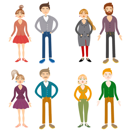 family isolated: adult boy and girl couple, modern families. Modern family stages. Typical family. People couples, people family isolated vector. People together Illustration