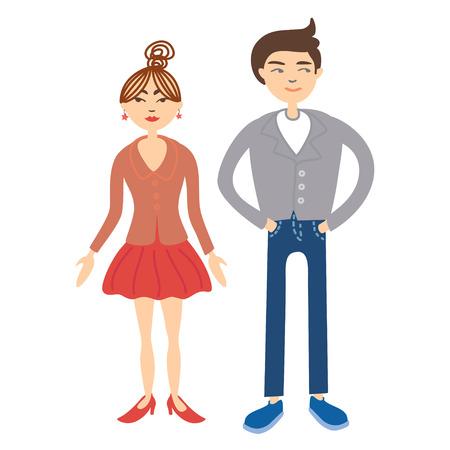 enamorados caricatura: Parejas ilustración vectorial. Conjunto de personas. Personajes divertidos de dibujos animados. Gente de la moda. Hombre y mujer parejas aisladas sobre fondo claro vector eps 10