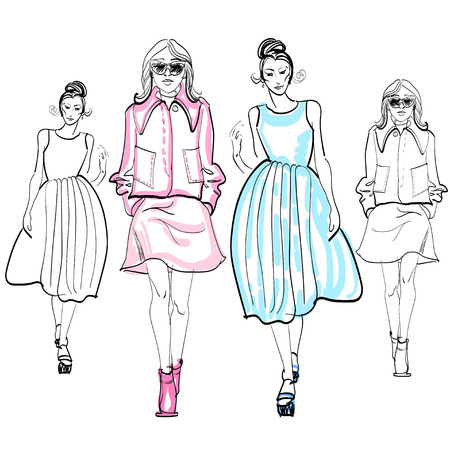 demonstrate: sketched fashion girl illustration of fashion model style woman demonstrate glamour cloth.
