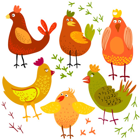 Cute cartoon chicken vector illustration. Bird isolated on background. Farm animal.