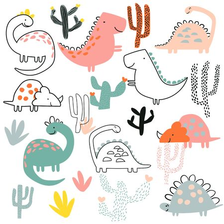 Childish illustration with hand drawn set of dino in doodle style. Perfect for kids fabric, textile, nursery wallpaper.