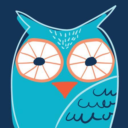 Owl portrait in glasses hand drawn in scandinavian style