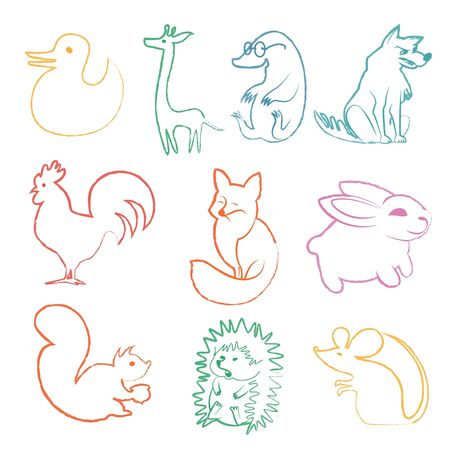 Vector set of funny cartoon animals. Linear drawing animals Collection. Cute happy duck fox hen mouse hare squirrel